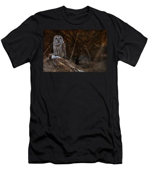 Men's T-Shirt (Slim Fit) featuring the photograph Barred Owl On Log by Michael Cummings