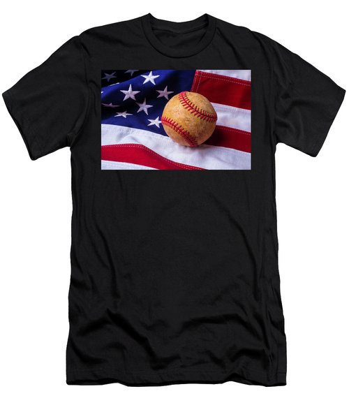 Baseball And American Flag Men's T-Shirt (Athletic Fit)