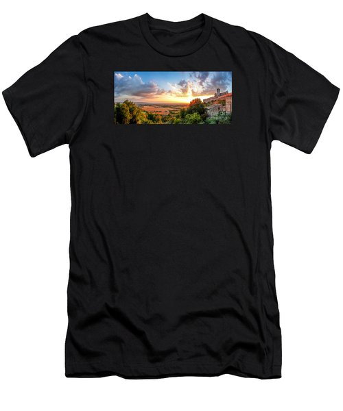 Basilica Of St. Francis Of Assisi At Sunset, Umbria, Italy Men's T-Shirt (Slim Fit) by JR Photography