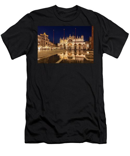 Basilica San Marco Reflections At Night - Venice, Italy Men's T-Shirt (Athletic Fit)