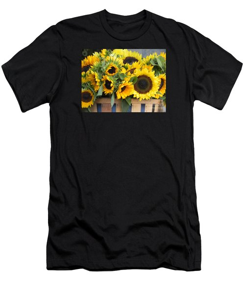 Basket Of Sunflowers Men's T-Shirt (Slim Fit) by Chrisann Ellis