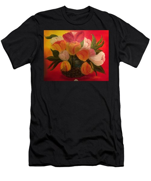 Basket Of Tulips Men's T-Shirt (Athletic Fit)