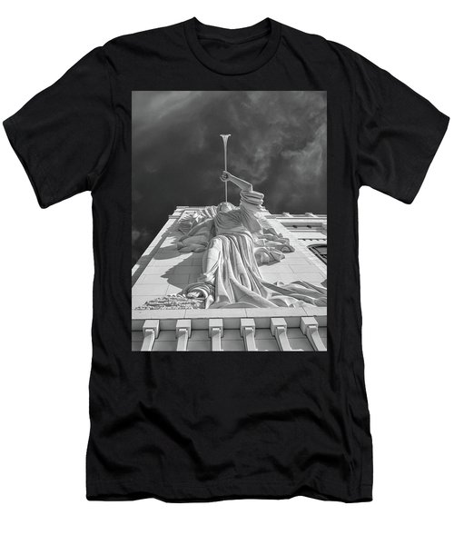 Men's T-Shirt (Athletic Fit) featuring the photograph Bass Performance Hall Angel by Guy Whiteley