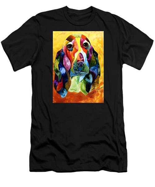 Basset Hound Blues Men's T-Shirt (Slim Fit) by Sherry Shipley