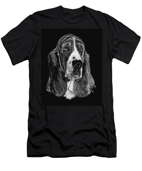 Men's T-Shirt (Slim Fit) featuring the drawing Basset Hound by Rachel Hames