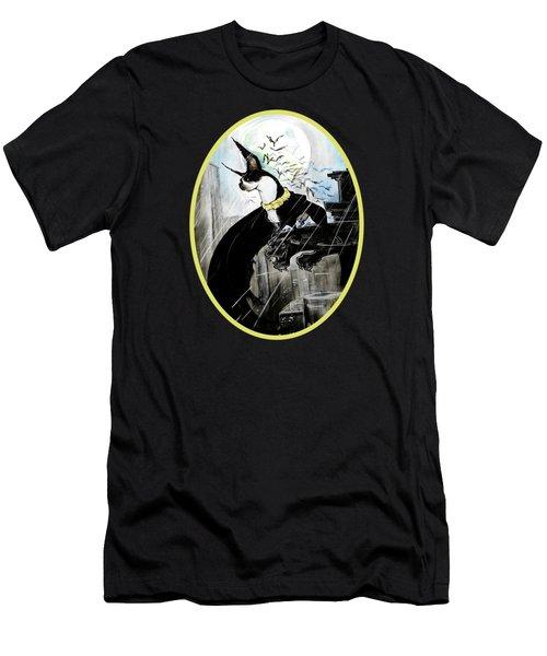 Batman Boston Terrier Caricature Art Print Men's T-Shirt (Athletic Fit)