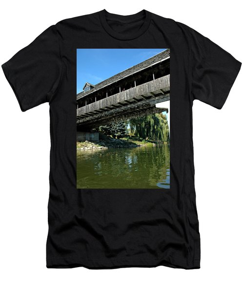 Men's T-Shirt (Slim Fit) featuring the photograph Bavarian Covered Bridge by LeeAnn McLaneGoetz McLaneGoetzStudioLLCcom