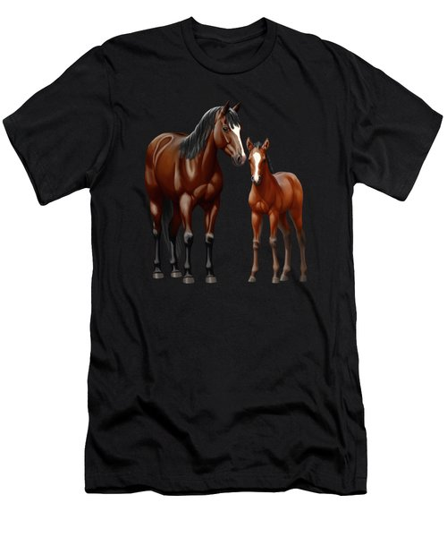 Bay Mare And Foal In Winter Men's T-Shirt (Athletic Fit)