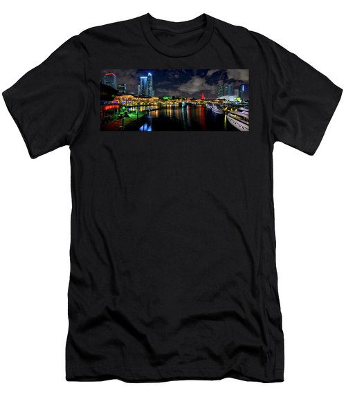 Bayside Miami Florida At Night Under The Stars Men's T-Shirt (Athletic Fit)