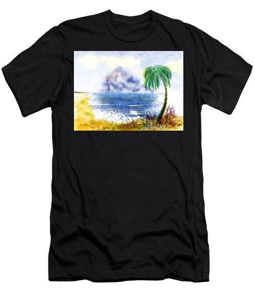 Beach And Palm Tree Of D.r.  Men's T-Shirt (Athletic Fit)