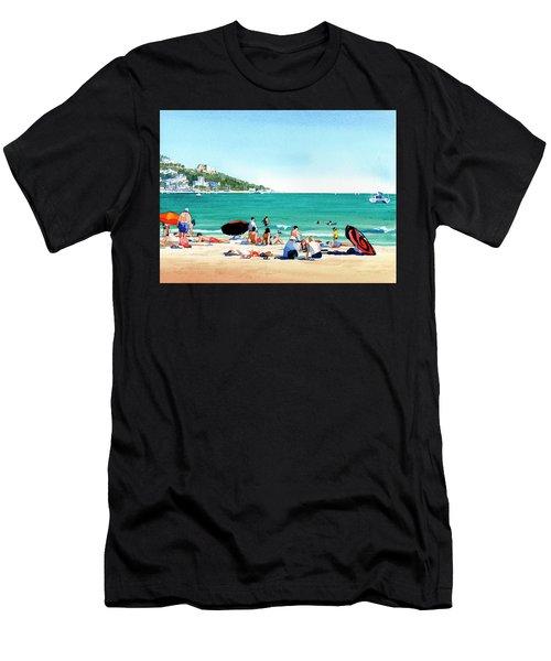 Beach At Roses, Spain Men's T-Shirt (Athletic Fit)