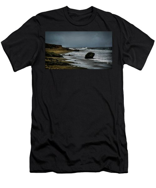 Men's T-Shirt (Slim Fit) featuring the photograph Beach Boulder by Joseph Hollingsworth