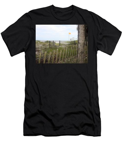 Beach Fence On Hunting Island Men's T-Shirt (Slim Fit) by Ellen Tully
