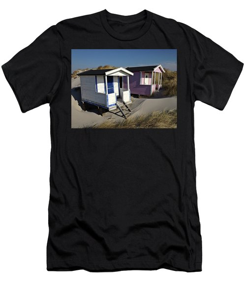 Men's T-Shirt (Athletic Fit) featuring the photograph Beach Houses At Skanor by Michael Maximillian Hermansen