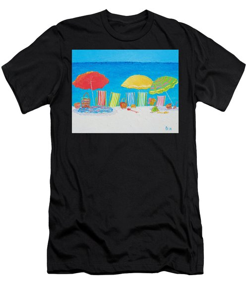 Beach Painting - Deck Chairs Men's T-Shirt (Athletic Fit)