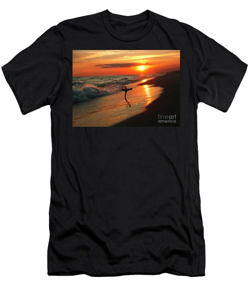 Beach Sunset And Cross Men's T-Shirt (Slim Fit) by Luana K Perez