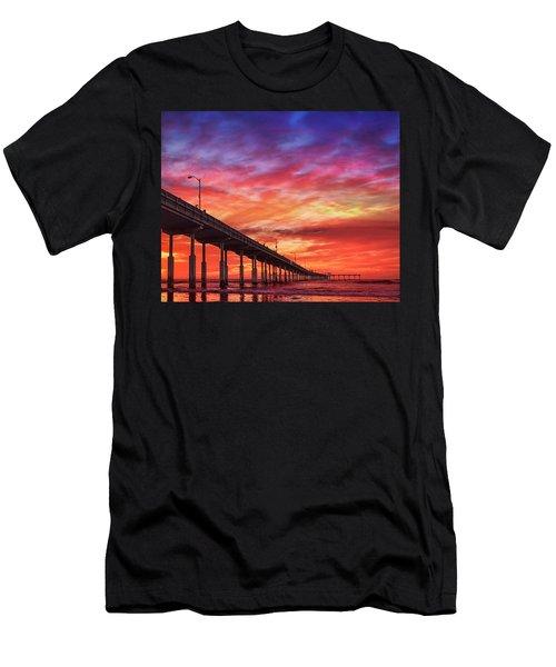 Beach Sunset Ocean Wall Art San Diego Artwork Men's T-Shirt (Athletic Fit)