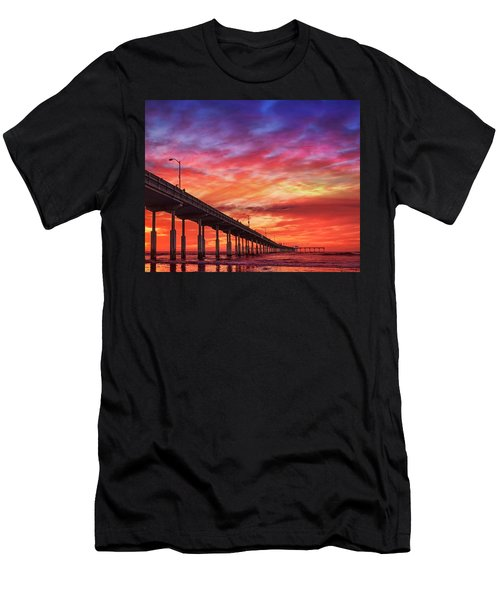 Beach Sunset Ocean Wall Art San Diego Artwork Men's T-Shirt (Athletic Fit)