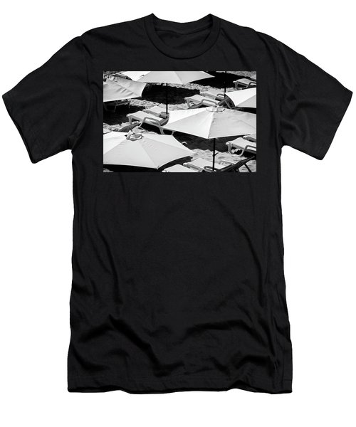 Men's T-Shirt (Slim Fit) featuring the photograph Beach Umbrellas by Marion McCristall