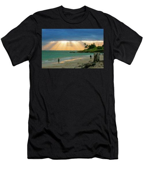 Beach Walk At Sunrise Men's T-Shirt (Athletic Fit)