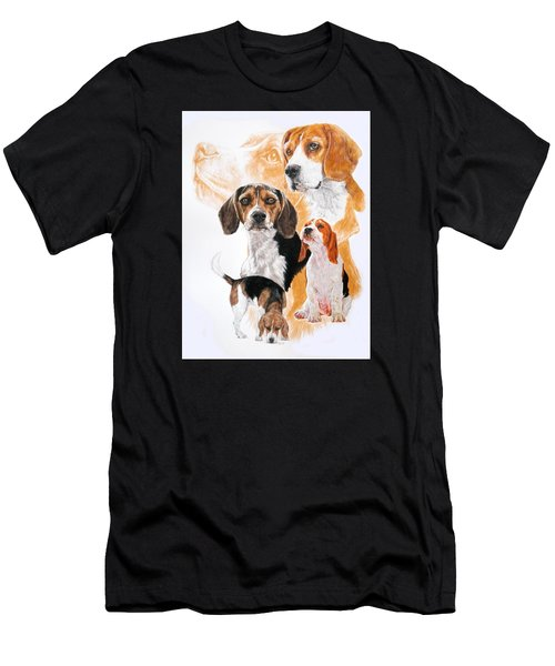 Men's T-Shirt (Athletic Fit) featuring the mixed media Beagle Hound Medley by Barbara Keith