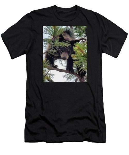 Bear Cub Playing In A Tree 2 Men's T-Shirt (Athletic Fit)