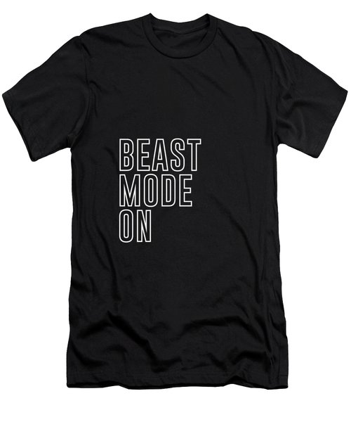 Beast Mode On - Gym Quotes - Minimalist Print - Typography - Quote Poster Men's T-Shirt (Athletic Fit)