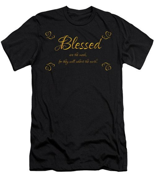 Beatitudes Blessed Are The Meek For They Will Inherit The Earth Men's T-Shirt (Slim Fit) by Rose Santuci-Sofranko
