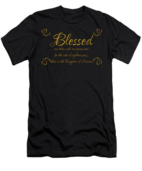 Men's T-Shirt (Athletic Fit) featuring the digital art Beatitudes Blessed Are They Who Are Persecuted For The Sake Of Righteousness by Rose Santuci-Sofranko