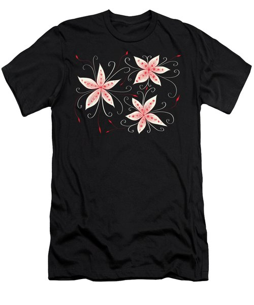 Beautiful Abstract White Red Flowers Men's T-Shirt (Slim Fit)