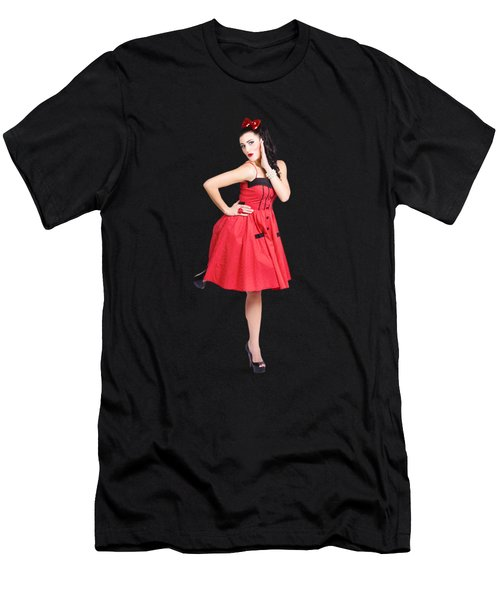 Beautiful Brunette Pinup Girl In Red Retro Dress Men's T-Shirt (Athletic Fit)