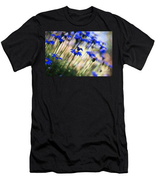 Beautiful Dancing Blue Flowers Romance Men's T-Shirt (Athletic Fit)
