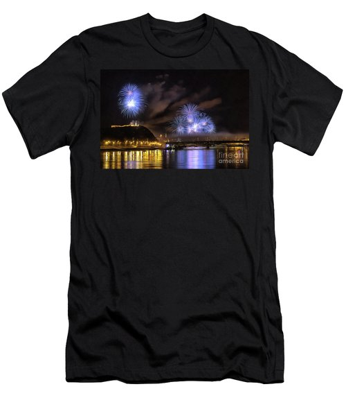 Beautiful Fireworks In Budapest Hungary Men's T-Shirt (Athletic Fit)