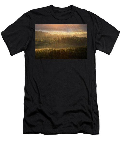 Beautiful Foggy Forest During Autumn Sunrise, Saxon Switzerland, Germany Men's T-Shirt (Athletic Fit)