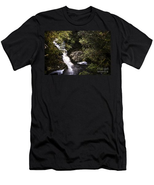 Beautiful Nature Landscape Of A Flowing Waterfall Men's T-Shirt (Athletic Fit)