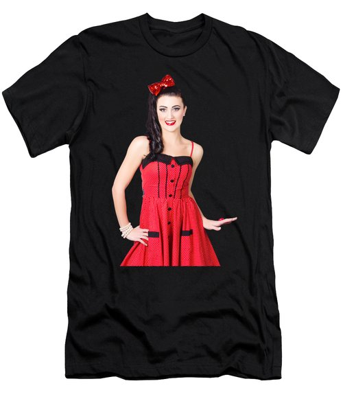 Beautiful Pinup Girl With Pretty Smile Men's T-Shirt (Athletic Fit)