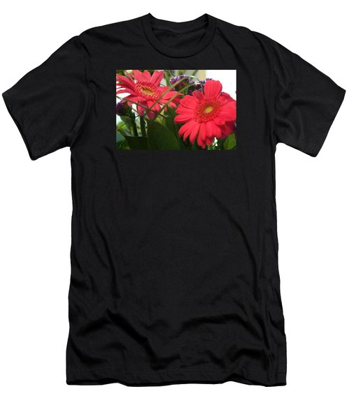Men's T-Shirt (Slim Fit) featuring the photograph Beautiful Red Daisies by Karen Nicholson
