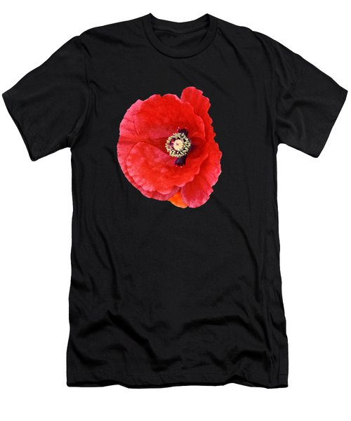 Men's T-Shirt (Slim Fit) featuring the photograph Beautiful Red Poppy Papaver Rhoeas by Marianne Campolongo