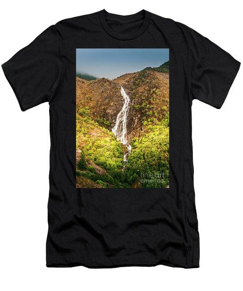 Beautiful Waterfall In Sunlight Men's T-Shirt (Athletic Fit)