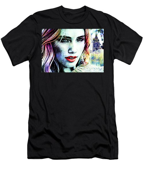 Men's T-Shirt (Slim Fit) featuring the digital art Beautiful Woman by Zedi