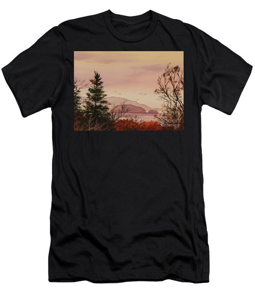 Men's T-Shirt (Slim Fit) featuring the painting Beauty At The Shore by James Williamson