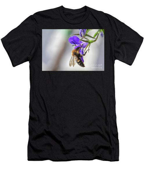 Bee On Purple Flower Men's T-Shirt (Athletic Fit)