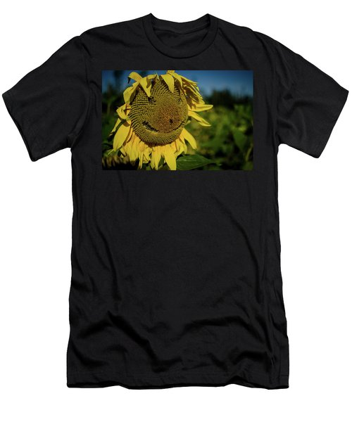 Bee Smiling Sunflowers Men's T-Shirt (Athletic Fit)