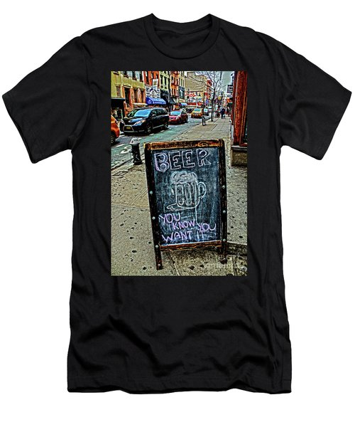 Men's T-Shirt (Slim Fit) featuring the photograph Beer Sign by Sandy Moulder