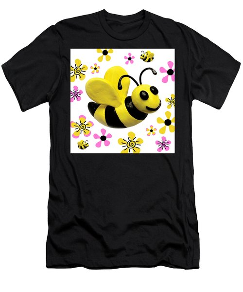 Bees And Flowers Square Men's T-Shirt (Athletic Fit)
