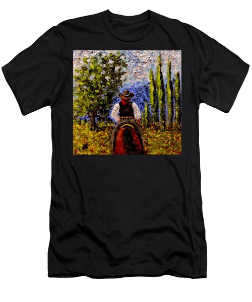 Men's T-Shirt (Slim Fit) featuring the painting Before The Sun Goes Down.. by Cristina Mihailescu