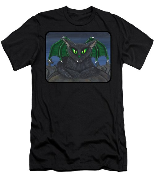 Men's T-Shirt (Slim Fit) featuring the painting Bela Vampire Cat by Carrie Hawks