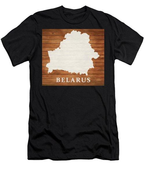Belarus Rustic Map On Wood Men's T-Shirt (Athletic Fit)