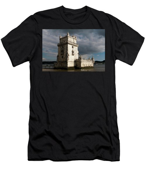 Men's T-Shirt (Athletic Fit) featuring the photograph Belem Tower In Color by Lorraine Devon Wilke