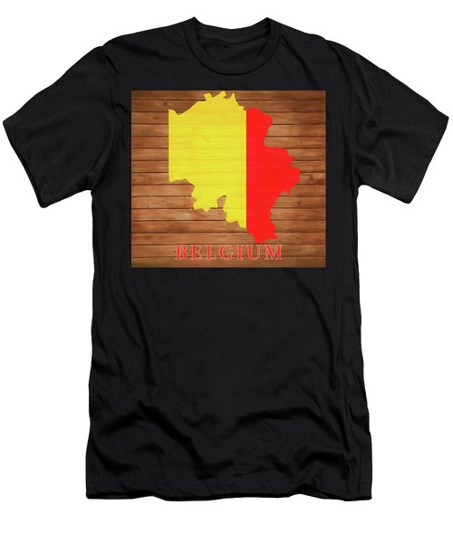 Belgium Rustic Map On Wood Men's T-Shirt (Athletic Fit)
